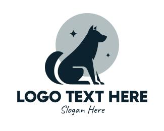 Moon - Moon Wolf Silhouette logo design