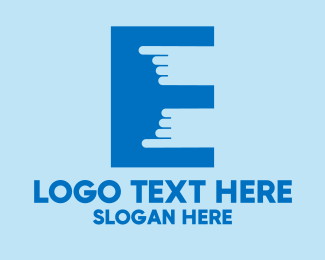 Point - Finger Touch Letter E  logo design