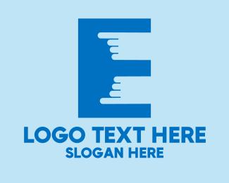 Pointing - Finger Touch Letter E  logo design