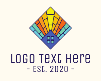 Church - Colorful Stained Glass House logo design