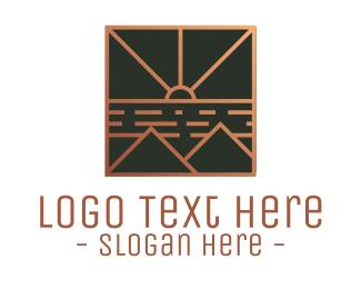 Elegent - Bronze Stroke Mountain logo design