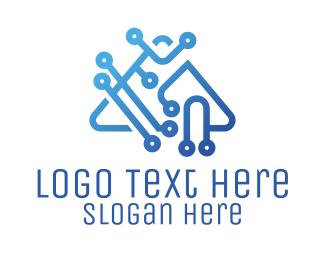 Software Development - Blue Digital Triangle logo design