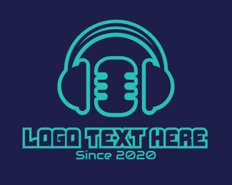 Interview - Mic & Headphones logo design