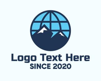 Skiing - International Global Mountains logo design