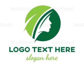 Makeup Artist - Green Circle Female logo design