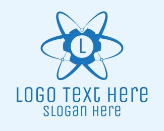 Atom - Blue Atomic Gear Letter logo design