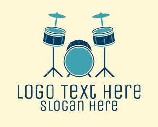 Drums - Blue Drum Set logo design