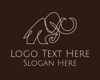 Archaeologist - White Mammoth Monoline logo design