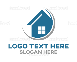 Mansion - Minimalist Blue House  logo design
