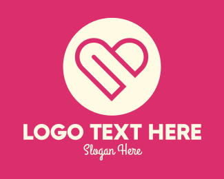 Family - Lovely Pink Heart Circle logo design