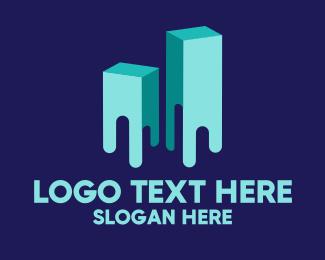 Melting - Modern 3D Building logo design