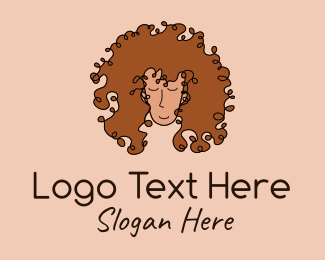 Attractive - Curly Hair Salon Lady  logo design