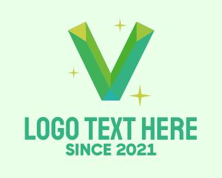 Quartz - Shiny Gem Letter V logo design
