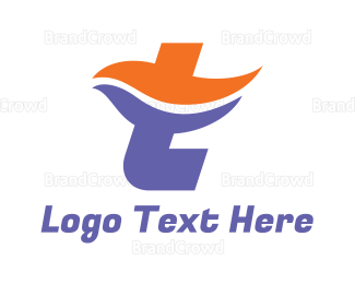 Swimmer - Orange Blue T Wave logo design