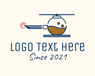 Air Transportation - Helicopter Coffee Experiment logo design