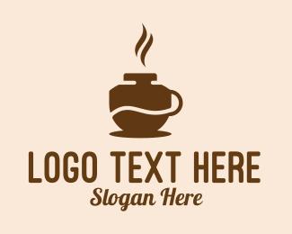 Hot - Brown Hot Coffee logo design