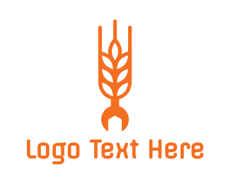 Tractor - Rice Grain Wrench  logo design