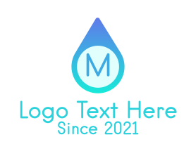 Letter - Blue Water Droplet logo design