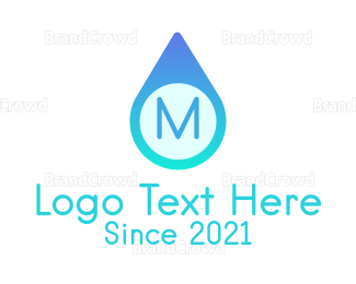 Dew - Blue Water Droplet logo design