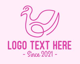 Loop - Pink Minimalist Bird Loop logo design