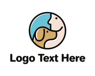 Brown Dog - Dog & Man logo design