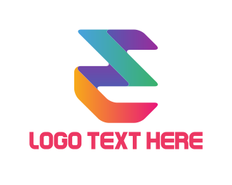 Three - Colorful E logo design