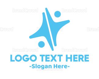 Duo - Blue Human Star logo design
