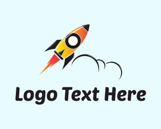 Projectile - Orange Rocket  logo design