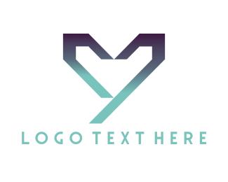 Romantic - Geometric Heart logo design