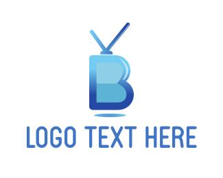 Tv - Antenna Letter B logo design