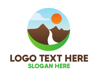 Hiking - Mountain River Valley logo design