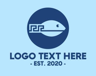 Greek - Blue Greek Meander Fish logo design