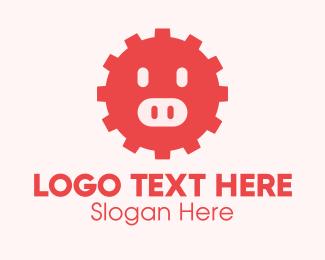 Pig - Cute Pig Gear  logo design