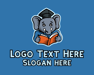 School - Learning Elephant Graduate logo design