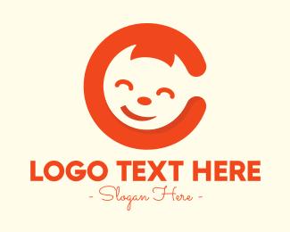 Cat Eyes - Happy Cat Letter C logo design