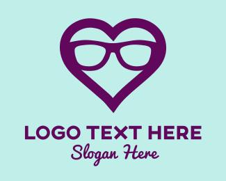 Vision - Love Heart Glasses logo design