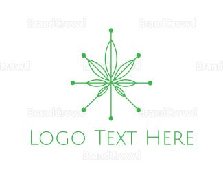 Amsterdam - Tech Cannabis Leaf logo design