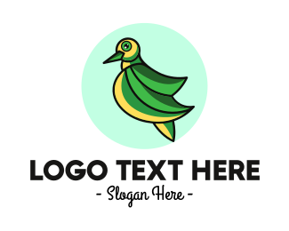 Green Wings - Green Dove Outline logo design