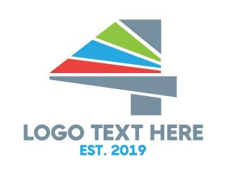Tv Channel - Colorful Stripes Number 4 logo design