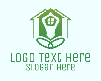 Yoga - Green Yoga House logo design