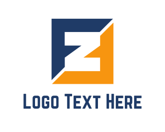 Letter F - Blue & Orange Z logo design
