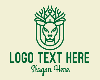 Green Deer Antler Monoline  Logo
