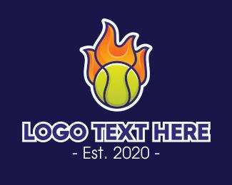 Tennis - Flaming Tennis Ball logo design