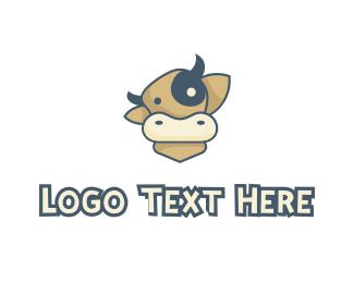 Meat - Cartoon Cow logo design