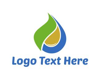 H2o - Drop Leaf logo design