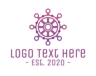 Sea Vessel - Marine Wheel Helm Technology logo design