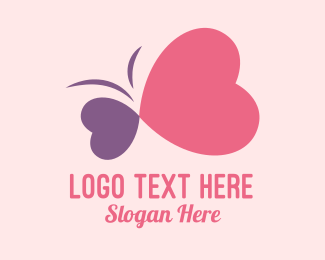 Wedding Proposal - Simple Romantic Heart Butterfly  logo design
