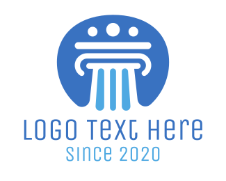 Law - Blue Pillar Law Badge logo design