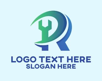 Home Repair - Wrench Repair Letter R  logo design