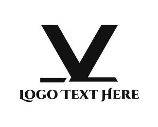 Alphabet - Black V logo design